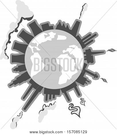 Save the Earth image shows factories and other industries which pollutes ground