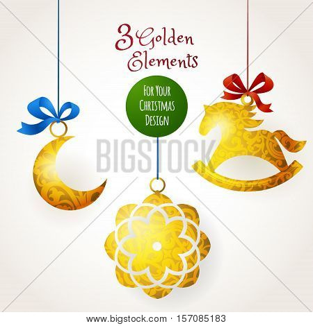 Golden Christmas Toys For New Year's Design.