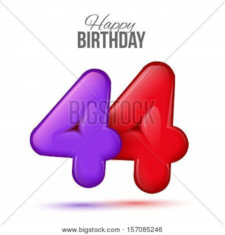 forty four birthday greeting card template with 3d shiny number forty four balloon on white background. Birthday party greeting, invitation card, banner with number 44 shaped balloon
