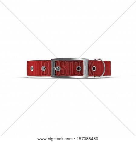 Animal collar on white background. Red color. Side view. 3D illustration