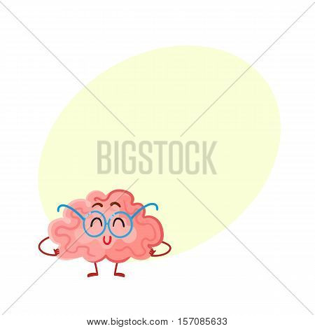 Funny smiling brain in round glasses, cartoon vector illustration on yellow background for text. Cute brain character in nerdy glasses as a symbol of brain training, education and development
