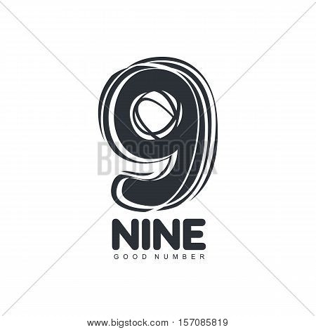 Black and white sketch style number nine logo template, vector illustration isolated on white background. Black and white free hand, hand made looking number nine graphic logotype