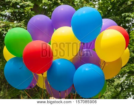 Balloons of different colors - blue, yellow, red, purple, green