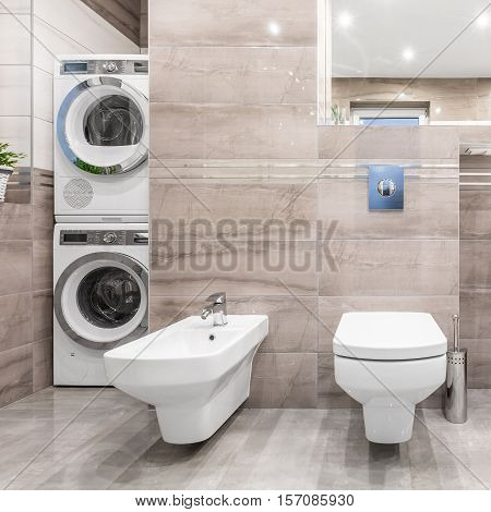 Bathroom With Laundry Corner