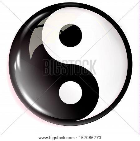 Volumetric image of feng shui. Yin Yang. Vector
