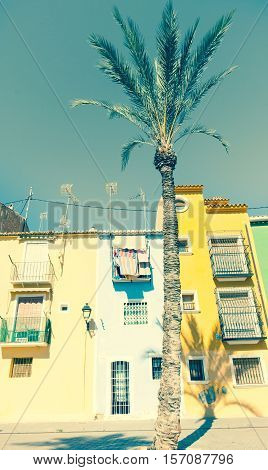 Retro faded image row of pastel colored terrace style traditional Mediterranean homes with palm tree La Vila Joisa Alicante Spain