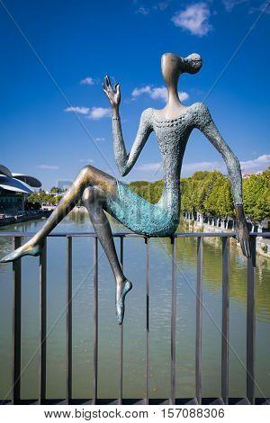 TBILISI, GEORGIA-OCT 2, 2016: Bronze figure, part of sculptural composition