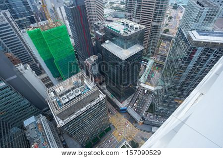 Skyscrapers and buildings in Hong Kong city, China, aerial view