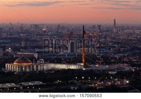 Victory park on Poklonnaya hill with illumination at night in Moscow, Russia