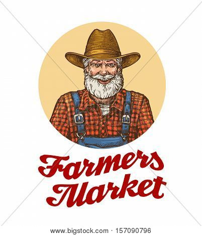 Farmers market vector logo or icon. Farmer in hat isolated on white background