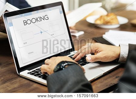 Booking Ticket Air Online Travel Trip Vacation Concept
