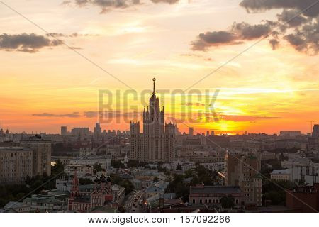 Panorama with Stalin skyscraper on Kotelnicheskaya quay during sunset in Moscow, Russia