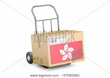 Made in Hong Kong concept. Cardboard Box on Hand Truck 3D rendering isolated on white background