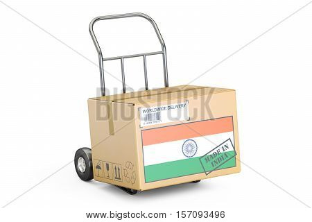 Made in India concept. Cardboard Box on Hand Truck 3D rendering isolated on white background