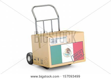 Made in Mexico concept. Cardboard Box on Hand Truck 3D rendering isolated on white background
