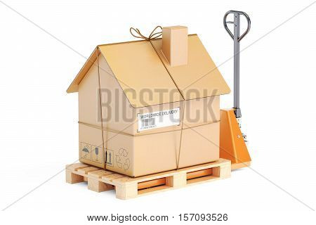 Residential Moving concept. Hydraulic hand pallet truck with cardboard house parcel 3D rendering