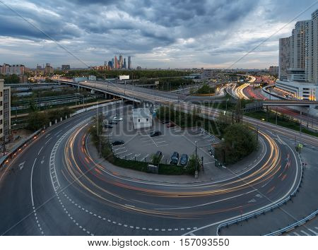 Road interchange of Third Ring Road in Moscow, Russia at summer evening