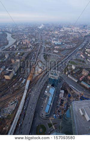 Third Transport Ring, river, industrial area in Moscow, Russia, top view