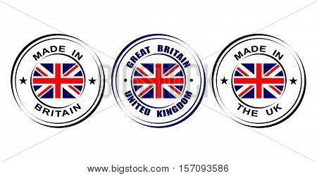 "Round label ""Made in Great Britain, United kingdom"" with flag poster"