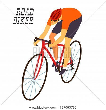 Racing cyclist in action. Fast road biker. Editable vector illustration.