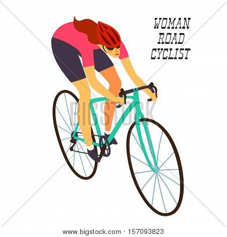 Woman racing cyclist in action. Fast road biker. Editable vector illustration.