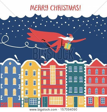 Christmas illustration with Santa flying like hero above European style colorful cartoon buildings in winter. Cute christmas postcard for your design.