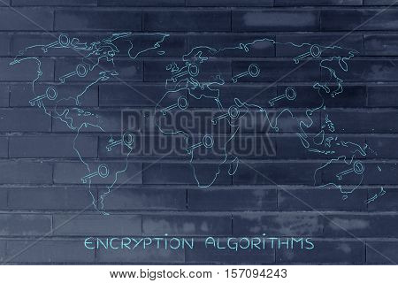 World Map With Keys, Concept Of Encryption & Cryptography