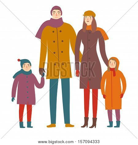 Cartoon family in winter clothes. Mother father daughter and son together. Seasonal illustration for your design.