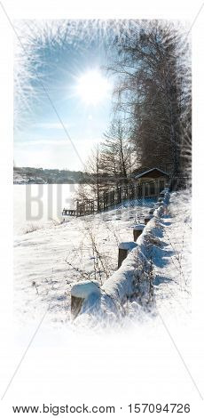 Christmas card. Beautiful Winter landscape. Winter sunny day on nature. Space for your text