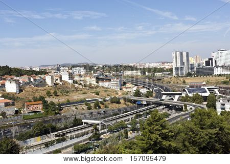 LISBON, PORTUGAL - September 30, 2016: View of the road and railway infrastructure in the Alcantara Valley towards the north of the Aqueduct of the Free Waters in Lisbon Portugal