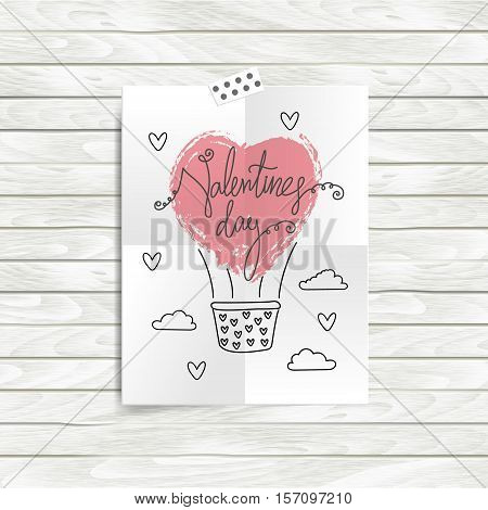 Vector Love mood board with heart, air balloon. Moodboard