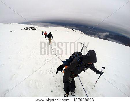 Group Hiking the glacier Hvannadalshnukur highest summit in Iceland mountain landscape Vatnajokull park 6