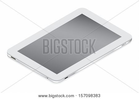Realistic white tablet in isometry isolated on a light background. Vector illustration.