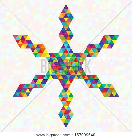Creative Unique Bright Symbol Festive Snowflake of Rainbow Triangles. Christmas Geometric Design Element.
