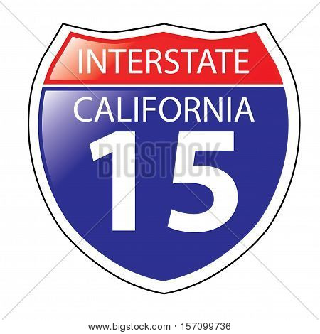 Layered artwork of California I-15 Interstate Sign