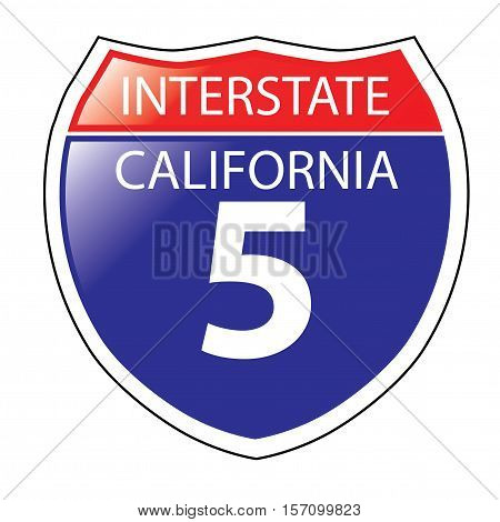 Layered artwork of California I-5 Interstate Sign