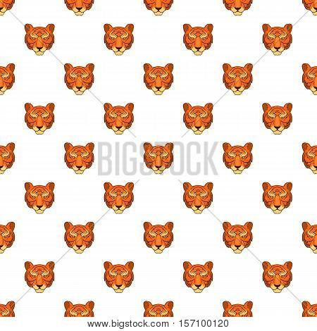 Tiger head pattern. Cartoon illustration of tiger head vector pattern for web
