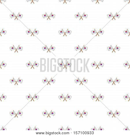 Crossed flags of South Korea pattern. Cartoon illustration of crossed flags of South Korea vector pattern for web