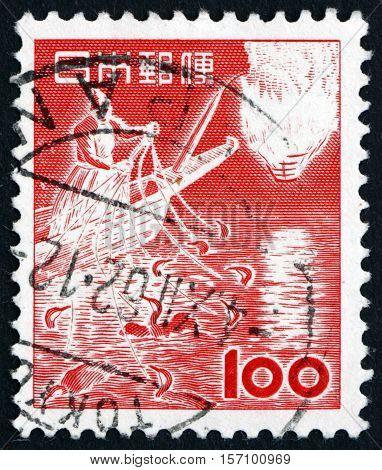 JAPAN - CIRCA 1953: a stamp printed in Japan shows Cormorant Fishing Traditional Fishing Method circa 1953