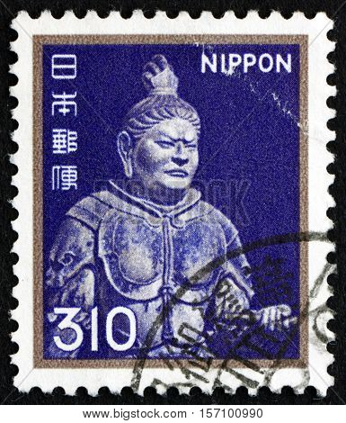JAPAN - CIRCA 1980: a stamp printed in Japan shows Komokuten the Guardian King of the South Todaiji Temple circa 1980
