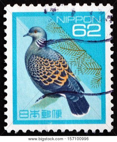 JAPAN - CIRCA 1992 a stamp printed in Japan shows Rufous Turtle Dove Streptopelia Orientalis Bird circa 1992