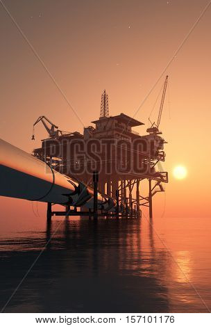 Oil production in the evening sky.,3d render