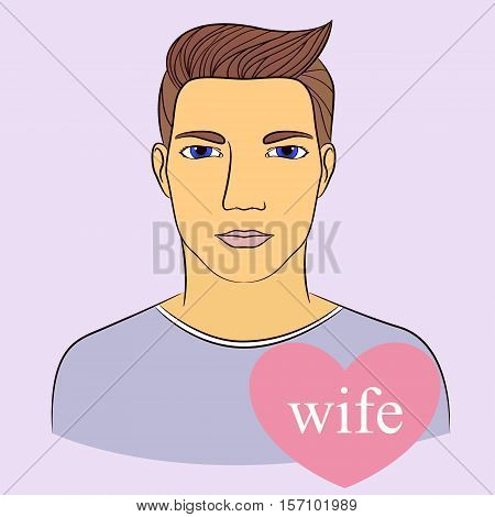 Vecto man with wife in heart infographics