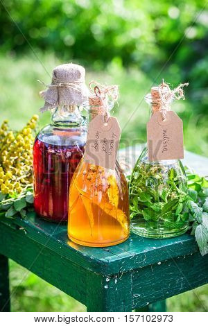 Healing Herbs In Bottles As Homemade Cure