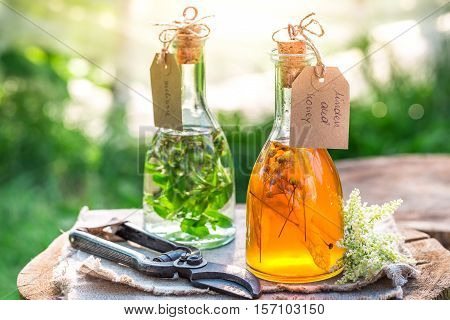 Healing Tincture In Bottles As Homemade Cure