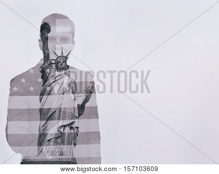 Double exposure concept with businessman silhouette. With USA flag