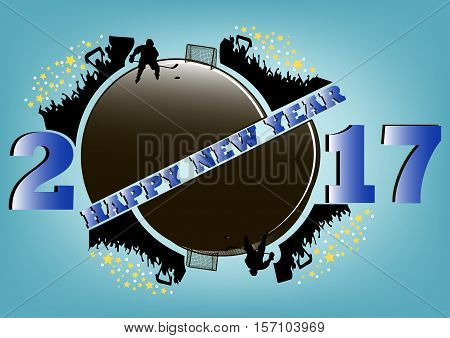 happy new year 2017 and hockey puck with hockey fans. hockey player scores a goal in the gate. Vector illustration