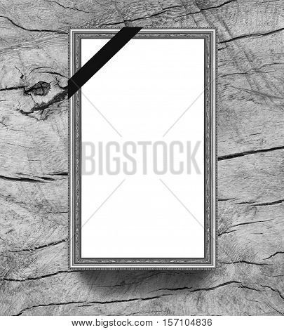 frame on wood with mourning band with space for text