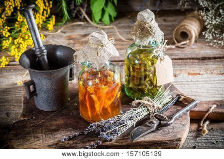 Homemade Tincture In Bottles As Natural Medicine