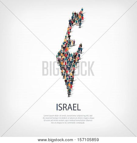 Isometric set of styles, people, map of Israel , country, web infographics concept of crowded space, flat 3d. Crowd point group forming a predetermined shape. Creative people.  illustration. Photo .3D illustration. White background . Isolated.